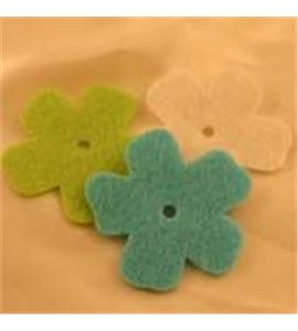 Fieltro set 6 flores verde / azul / blanco - FE21VTB