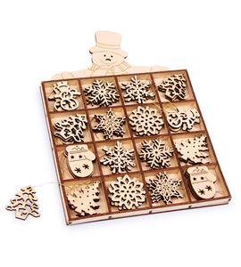 """Colgantes en caja """"muñeco de nieve"""", madera - 6675"""