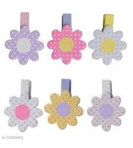 Pinzas de madera - flores margaritas - 14001920