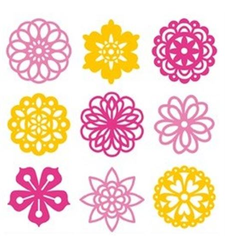 Set de mini siluetas de fieltro - flores - 13070086