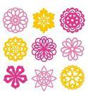 Set de mini siluetas de fieltro - flores
