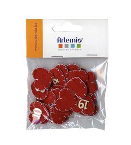 Números de fieltro adviento - corazones rojo - 13070116