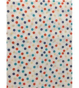 Tela de algodón - topos blanco-naranja - 13062014