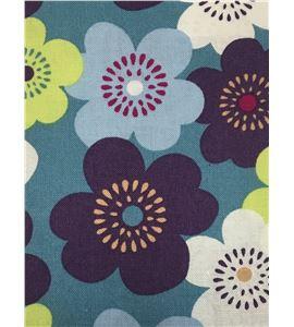 Tela de algodón - flores azul - 13062019
