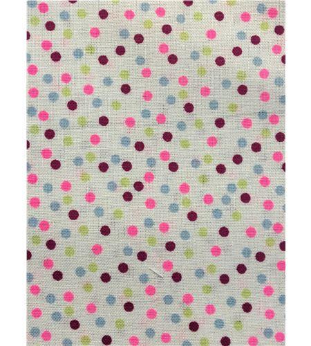 Tela de algodón - topos blanco-rosa - 13062022