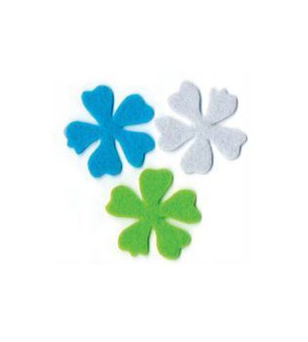 Fieltro set 6 flores blanco / azul / verde - FE23VTB
