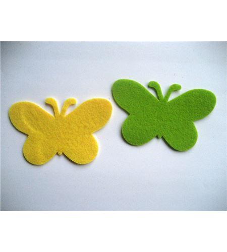 Fieltro set 8 mariposas amarillo / verde - FE27JV
