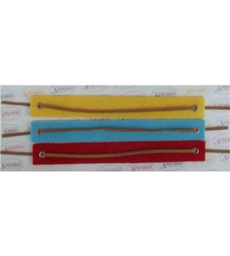 Fieltro set 3 pulseras amarillo / azul / rojo - FE55A4