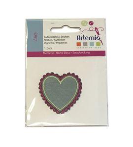 Parche adhesivo bordado - corazón verde - 13063025