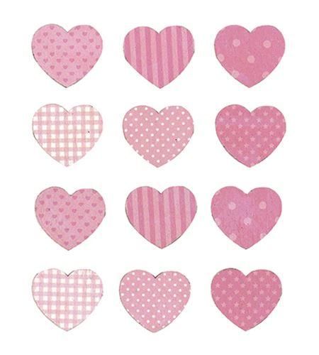 Corazones de madera - rosas - 14002207