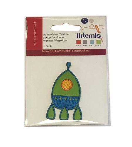 Parche adhesivo bordado - cohete verde - 13063050