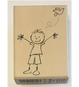 Sello de madera - niño con paloma - ARTHF314