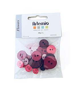 Set de botones circulares - flowers - UBBOR15