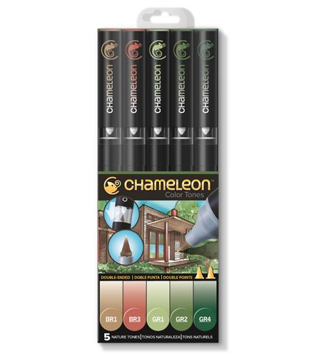 Set 5 rotuladores chameleon - nature tones - CT0514
