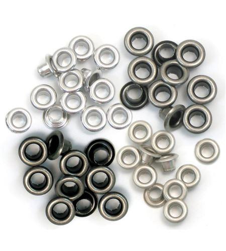 Set de eyelets - 4 tonos gris 60pc. - 415848