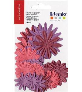 Set de flores de papel - tonos morados - 11006790