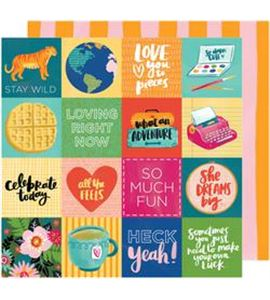 Hoja de papel de scrapbook - fit to be square - 341869