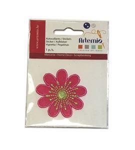 Parche adhesivo bordado - flor rosa - 13063040