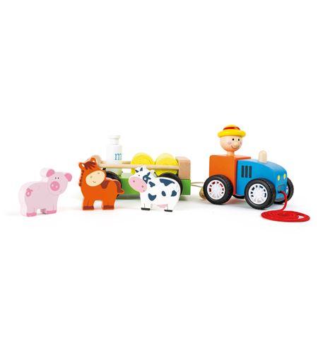 Tractor de madera, granjero con animales - 10242