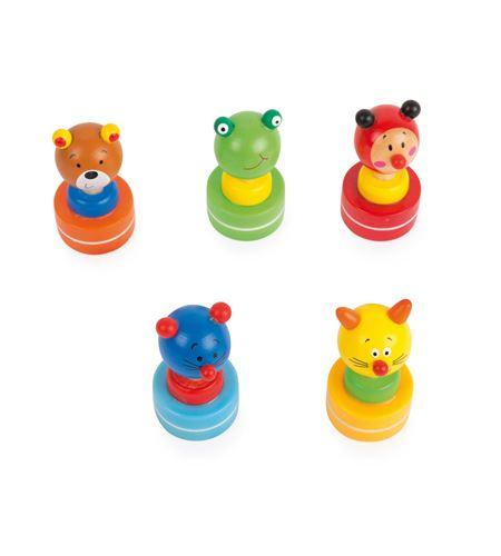 Display sellos de madera multicolor de animales - 10507