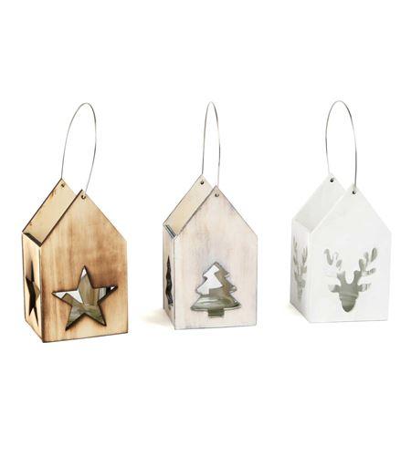 Farol navideño de madera - 10535