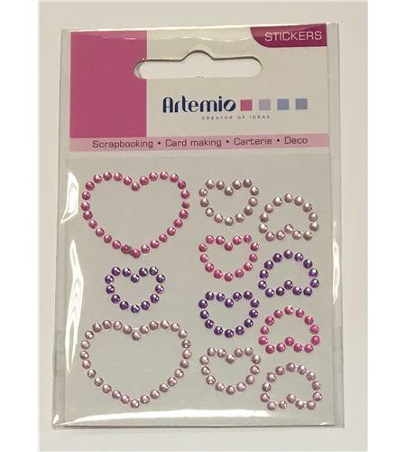 Corazones de strass adhesivos - 11006266