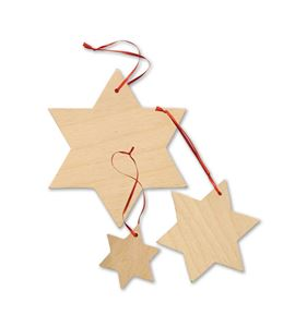 """Colgante """"estrella"""", madera - 3072"""