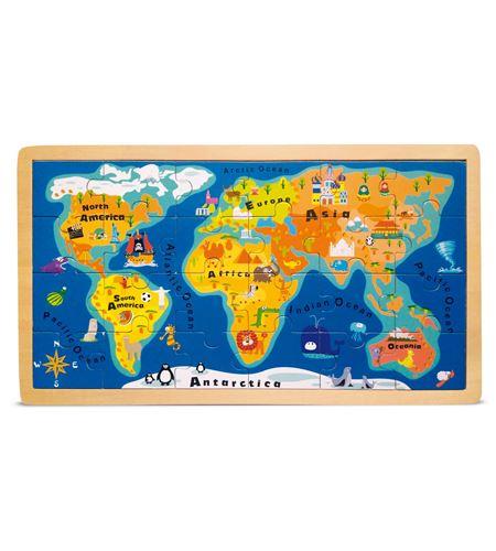 Puzle con marco mapamundi - 4240