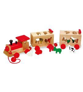 Juego para encajar, tren de madera con animales - 7948