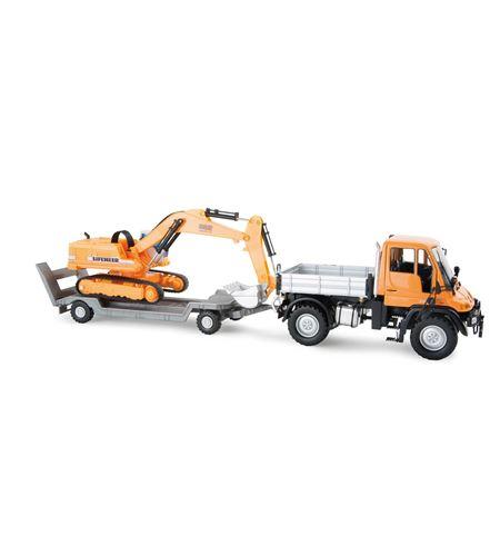 Coche en miniatura mercedes benz unimog + excavadora - 8592