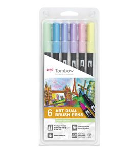Dual brush rotulador pincel estuche 6 colores pastel - ABT-6P-2-1