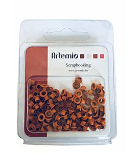 Set de eyelets - círculos naranja 100pc - 11006195