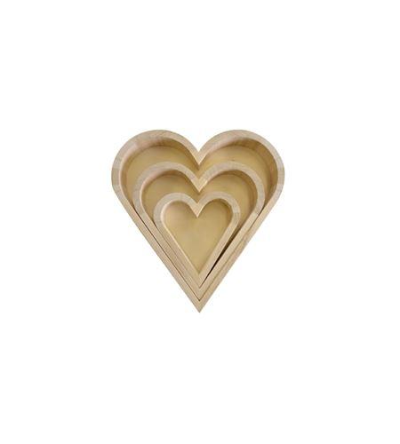 Set de 3 bandejas madera forma corazón. - 14002008