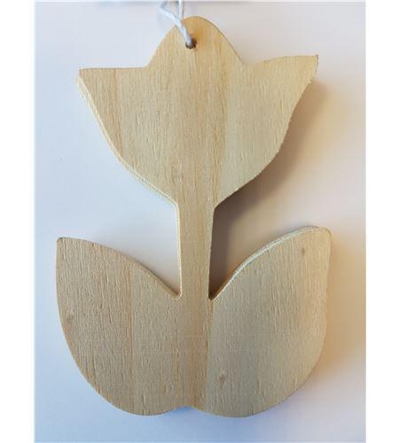 "Juego 3 etiquetas madera ""tulipan"" - 14001066"