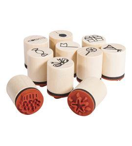 Set de mini sellos de madera/caucho - celebrate - 68098000