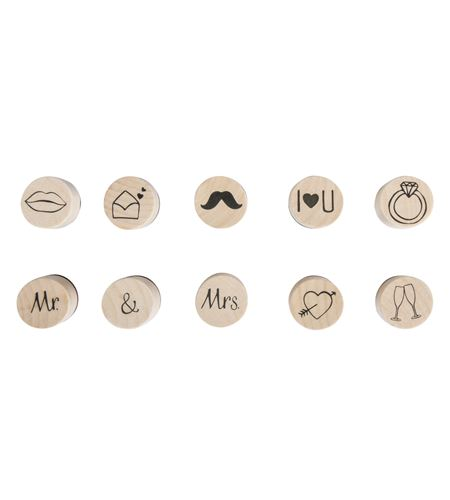 Set de mini sellos de madera/caucho - boda - 68100000_3