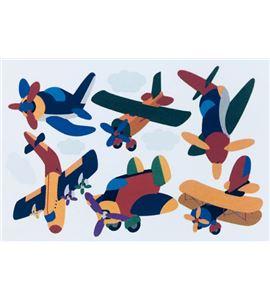 Vinilo de pared - avionetas y aviones (48 x 32cm) - 22001004