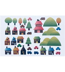 Vinilo de pared - casas y bosque - 22004003