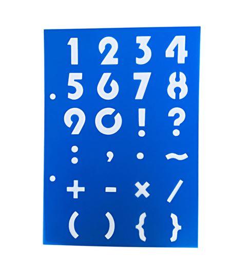 Plantilla / stencil - números y signos - 7250120011