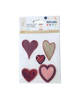Set de parches bordados adhesivos - corazones - 13063005