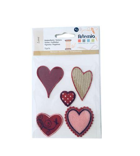 Set de parches bordados adhesivos - corazones - 13063005