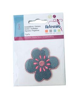 Parche adhesivo bordado - flor verde - 13063023