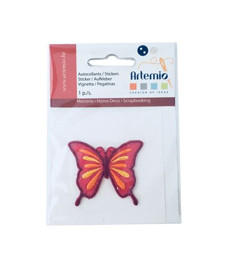 Parche adhesivo bordado - mariposa rosa - 13063038