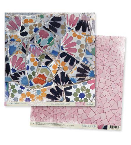 Papel de scrapbook - gaudí rosa - TT002 AG14