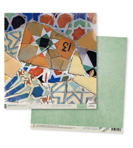 Papel de scrapbook - gaudí verde - TT003 AG14
