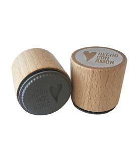 Sello de madera con base de goma - hecho con amor - 10004122