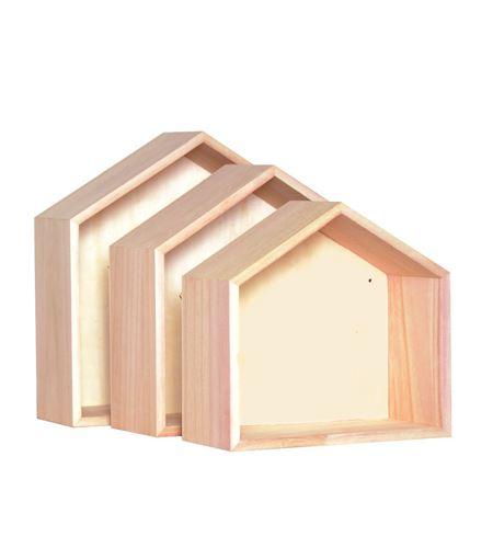 Estantes de madera para pared (3 unidades) - 14001561