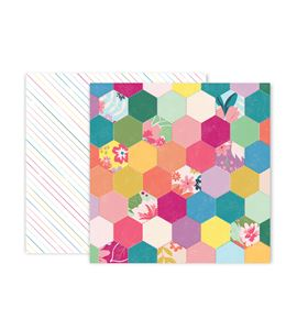 Hoja de papel de scrapbook - hexagon - 310694