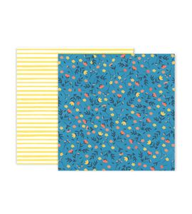Hoja de papel de scrapbook - flowers blue - 310698