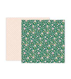 Hoja de papel de scrapbook - pink flowers - 310713